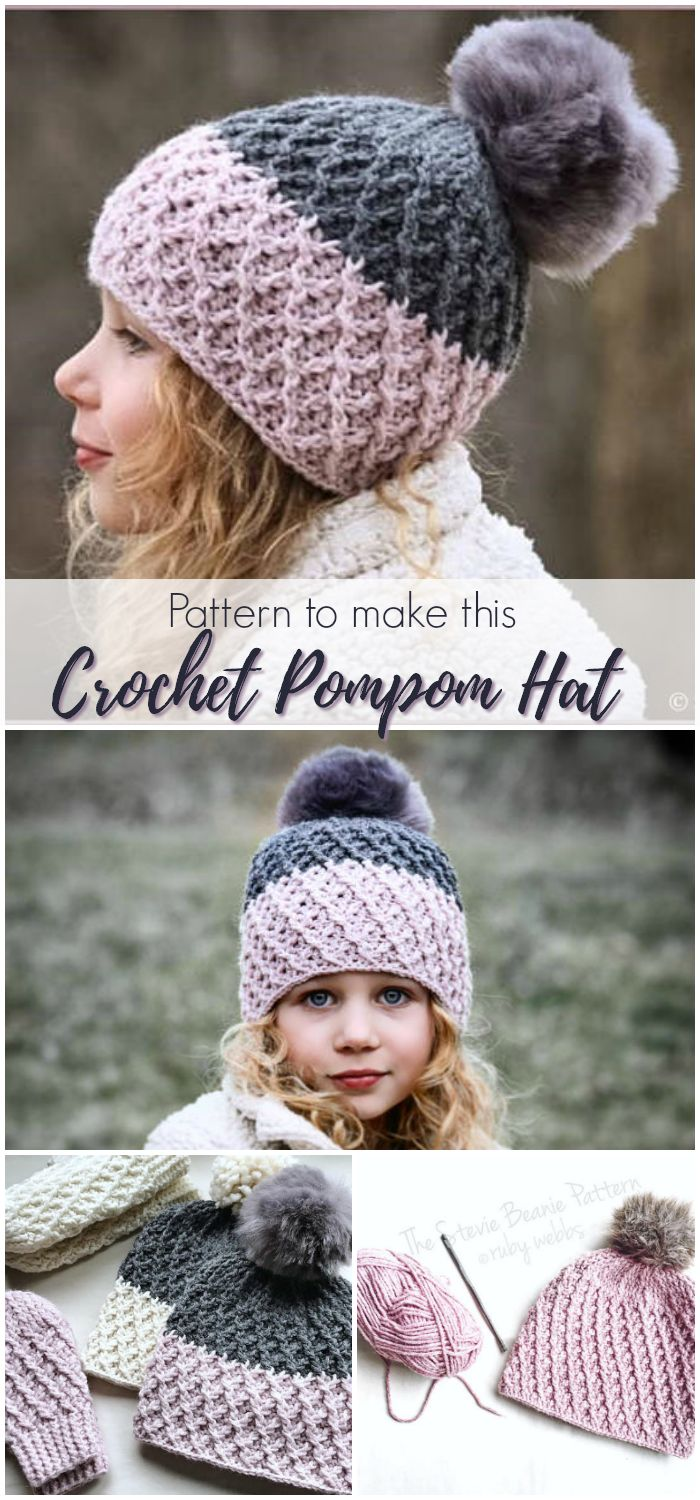 Instructions for how to make this adorable crochet pompom hat. I love this textured crochet hat pattern, #etsy #ad #pdf #hat #women #kids #stevie