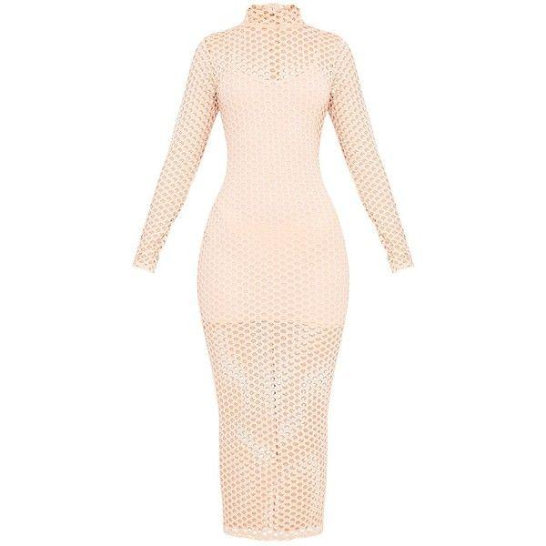 Salia Nude Fishnet Midaxi Dress (37 AUD) ❤ liked on Polyvore featuring dresses, pink dress, pink fishnet dress, nude dress and fishnet dress