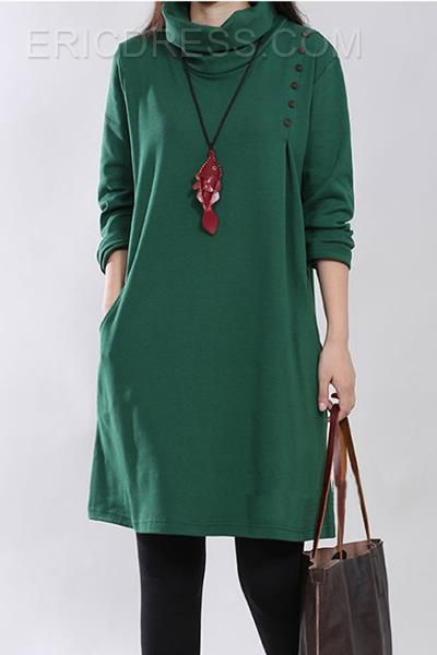 Pure Color Turtle Collar Long Sleeve Casual Dress  Casual Dresses
