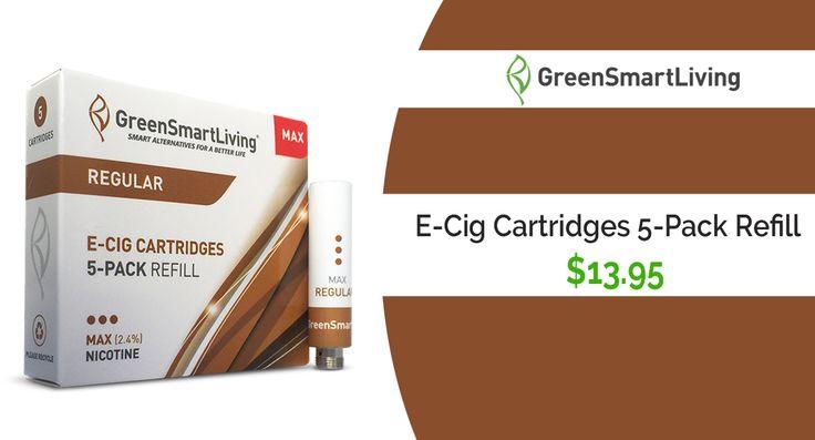 GreenSmartLiving is offering E-Cig Cartridges 5-Pack Refill For $13.95. #GreenSmartLiving_coupon_codes