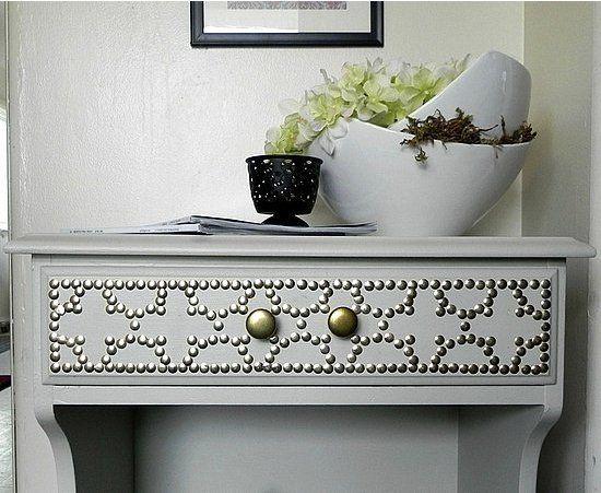 Like the idea of transforming plain furniture with a simple nailhead design
