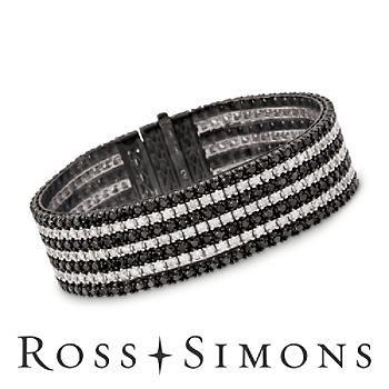 "14.00ct t.w. Black, White Diamond Bracelet In 18kt White Gold. 7"" black and white diamond jewelry"
