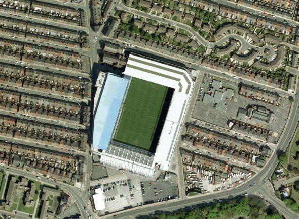 Birdseye view of an English soccer stadium