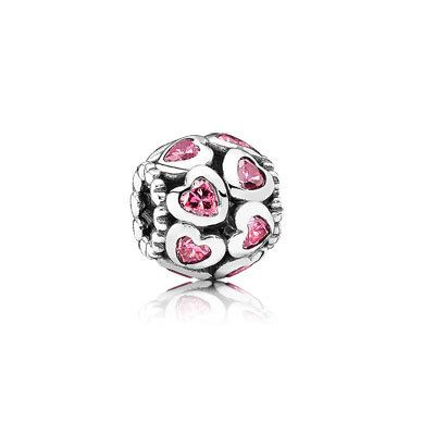 This sterling silver charm with 14 heart-shaped pink cubic zirconia is a cute representation of your friendship. #PANDORA #PANDORAcharm