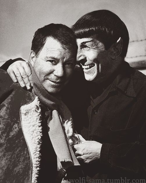 William Shatner and Leonard Nimoy on the set of Star Trek VI: The Undiscovered Country