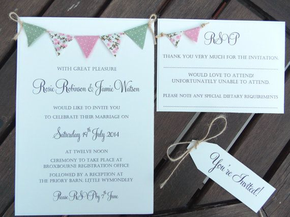 Rustic Wedding Invitation. Unique Bunting by FromLeoniWithLove