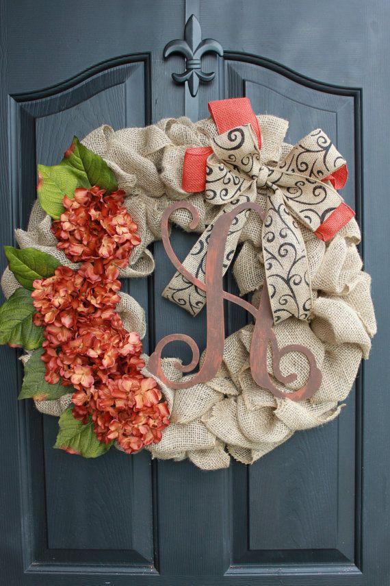 Fall wreath- Monogram Wreaths for door - Berry wreath - Wreath - Door Wreaths - Fall Wreaths for door - Wreath for door on Etsy, $85.00
