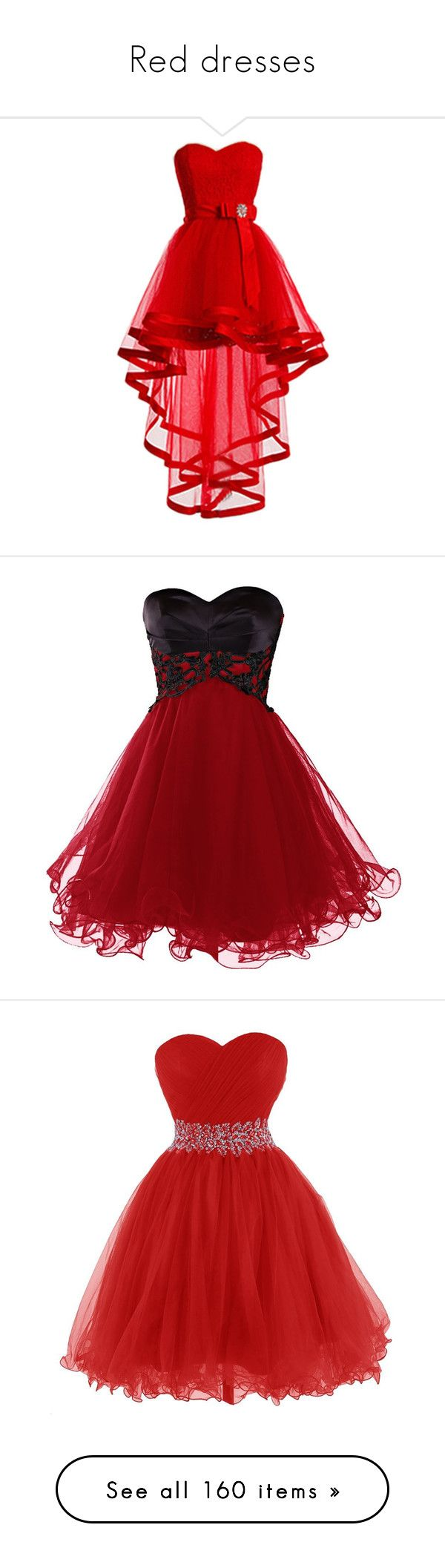 """""""Red dresses"""" by megsjessd99 ❤ liked on Polyvore featuring dresses, tulle prom dress, prom dresses, high low prom dresses, lace prom dresses, high low homecoming dresses, short dresses, red prom dresses, short homecoming dresses and red homecoming dresses"""