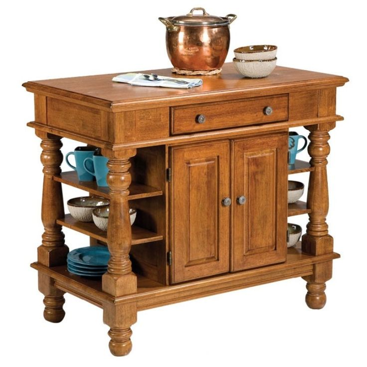 Home Styles   Americana Kitchen Island   The Features Include Weathered  Bronze Hardware, Accessibility From Both Sides, Easy Glide Large Pass  Through Drawer ...