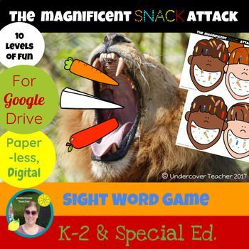 This is the digital, paperless version of The Magnificent Snack Attack Sight Word Game for Google Drive/Docs. Great for K-2 readers who use a tablet or Chrome book with access to Google Drive/Docs. Using this resource will require internet access for students or
