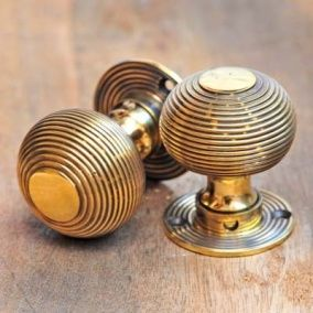 Beehive Door Knobs (Pair) - Aged Brass by Grace & Glory Home