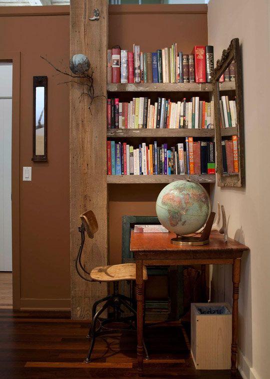 bookshelf: House Tours, Interior, Home Office, Book, Modern Loft, Desk, Rustic Modern