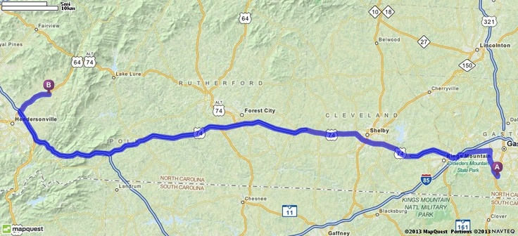 Driving Directions from 4210 Grissom St, Gastonia, North Carolina 28056 to 3591 Chimney Rock Rd, Hendersonville, North Carolina 28792 | MapQuest