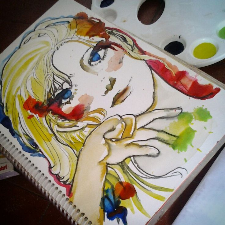 Watercolor surf girls