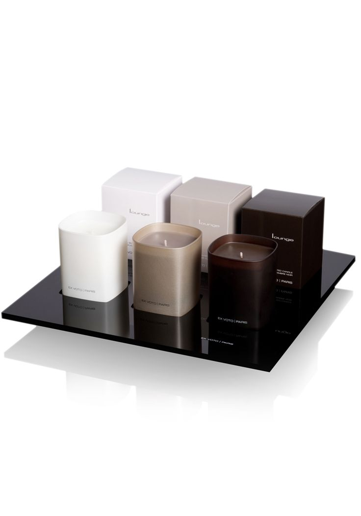 Lounge collection, candles and plexiglass tray by Ex Voto Paris