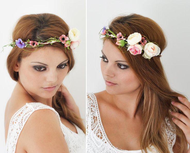 Blumenkranz Hochzeit Haarband Blumen Haarschmuck von Princess Mimi auf DaWanda.c…