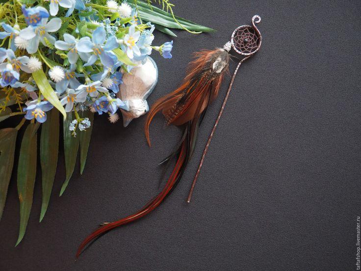 Осень - коричневые перья для волос на шпильке с ловцом снов - перо, перья, перья в волосы