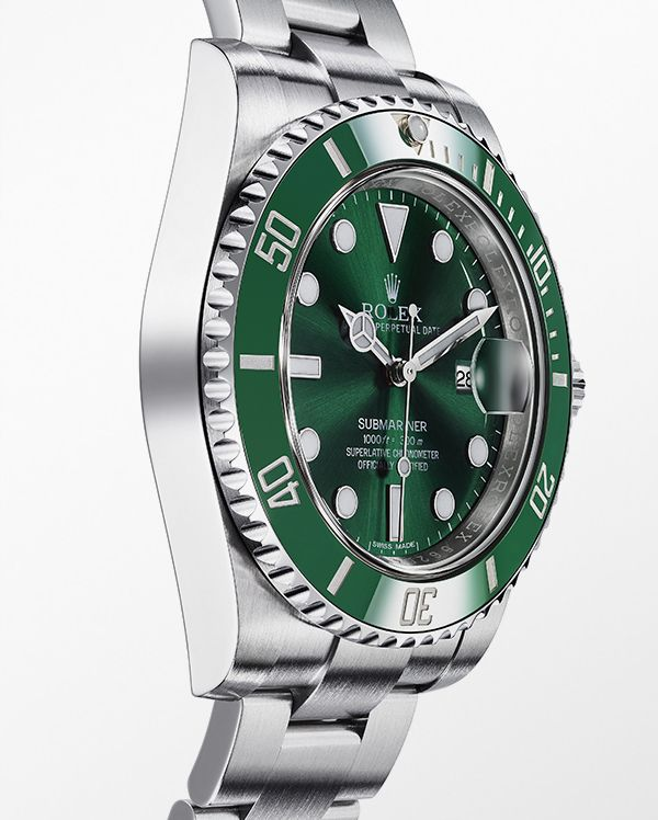 The Rolex Submariner Date in 904L steel with a rotatable graduated green ceramic bezel, green dial and Oyster bracelet.
