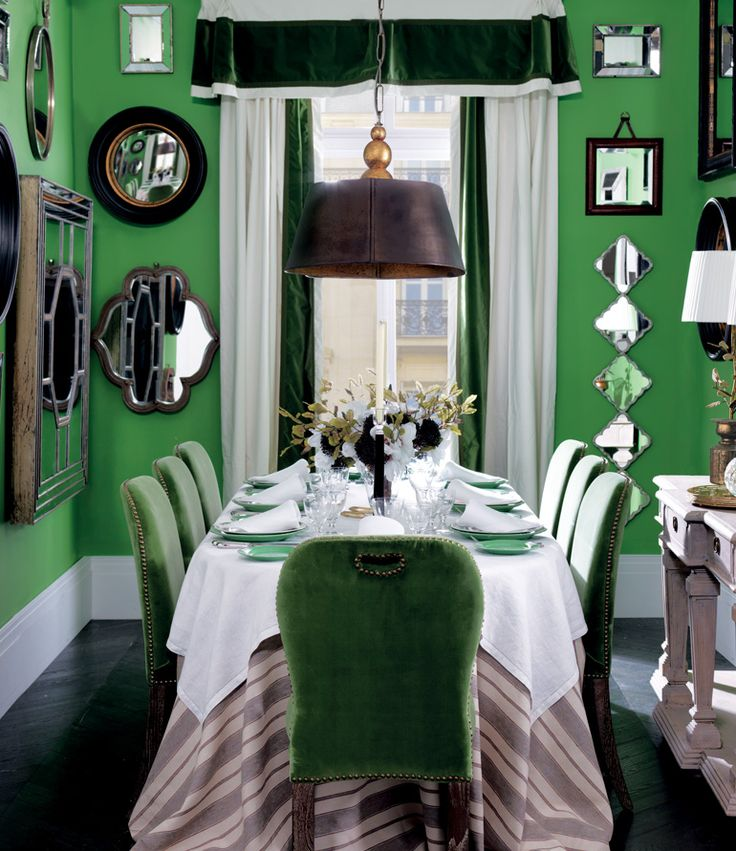 Green Dining Room | Parisian Chic | Chic Heritage | Mirror Display | Oka  Direct