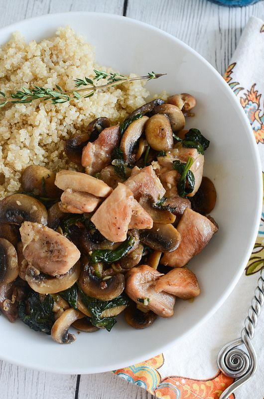 Chicken Marsala Quinoa Bowls - chicken, mushrooms, and spinach in a delicious marsala sauce. This is light, healthy, and so delicious!