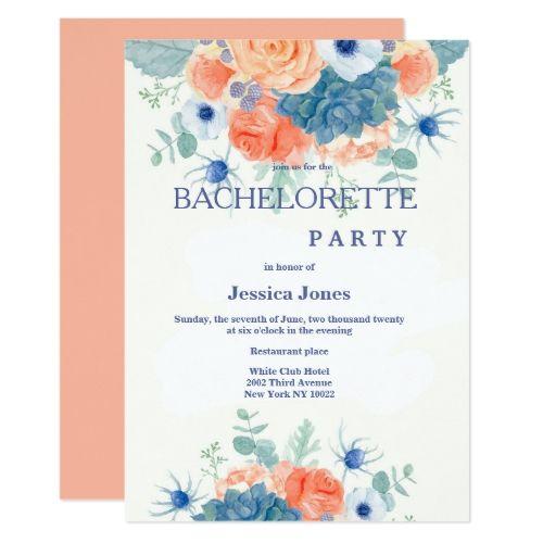 Watercolor coral blue romantic floral Bachelorette Card
