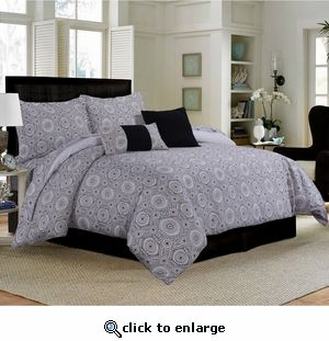 5-Piece Cotton Medallion Duvet Cover Set Black-Cashmere. Give your bedroom a designer look with this ultra-soft and smooth contemporary duvet set featuring multi-color geometric and medallion pattern.