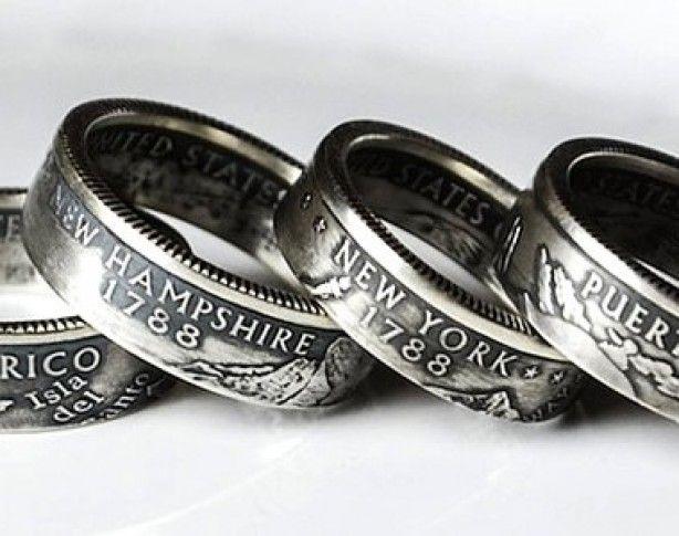 Een ring gemaakt van een zilveren munt. Een uitdaging om zelf te maken.