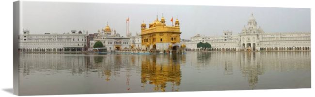 """""""Golden Temple Panorama"""" by SikhPhotos.com Gallery, Espanola, New Mexico // This is a wide panorama view of the Golden Temple in Amritsar (Punjab), India. The Hari Mandir, now called the Golden Temple, is a living symbol of the spiritual and historical traditions of the Sikhs. The tank and the temple have been a source of inspiration to the Sikh com... // Imagekind.com -- Buy stunning fine art prints, framed prints and canvas prints directly from independent working artists and…"""