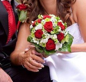 Svatební kytice, červeno-bílý styl / Květiny Fleurs #wedding #flower