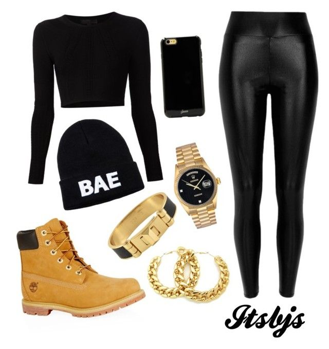 Black/timberland/dope by itsbjs on Polyvore featuring polyvore, fashion, style, Cushnie Et Ochs, River Island, Timberland, CC SKYE, Rolex and Sonix