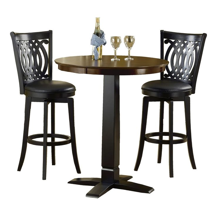 Van Draus 3-pc. Pub Table Set, Black