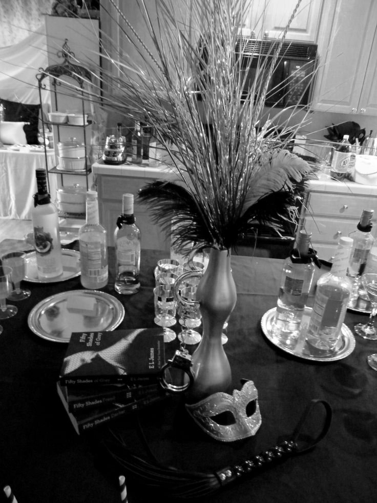 Fifty Shades of Grey party centerpiece http://bellacparties.blogspot.com/2014/07/fifty-shades-of-grey-party_24.html