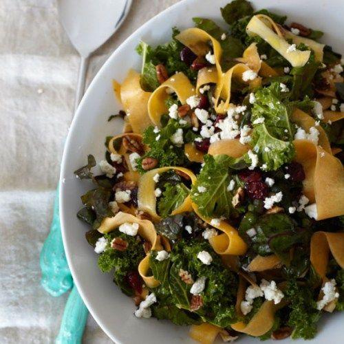 Kale, Swiss Chard & Butternut Squash Salad by keepitskinny. Recipe by Shape Magazine #Salad #Kale #Butternut_Squash #Swiss_Chard #Healthy
