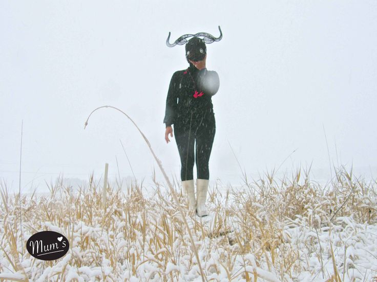 BULL trophy size XL. She is wearing it and its snowing. Only in Finland.