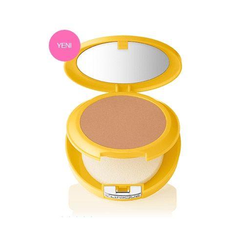 Clinique Sun SPF 30 Mineral Powder Makeup For Face 9.5gr | 79,20 TL | Dermoeczanem de. Hafif yapılı ve mineraller ile zenginleştirilmiş formülü sayesinde, ciltteki kusurların görünümünü kapatarak ton kazanmış cilt görünümü sağlar ve UVA/UVB güneş ışınlarına karşı cildin korunmasına yardımcı olur.  Güneş Koruyucu, Makyaj.