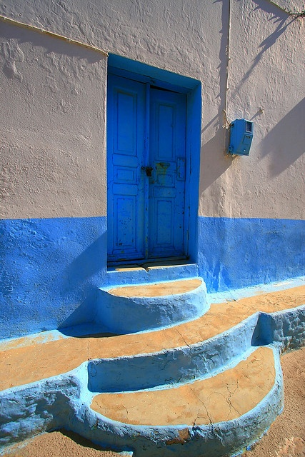 Blue painted house and steps, Pserimos island, Greece
