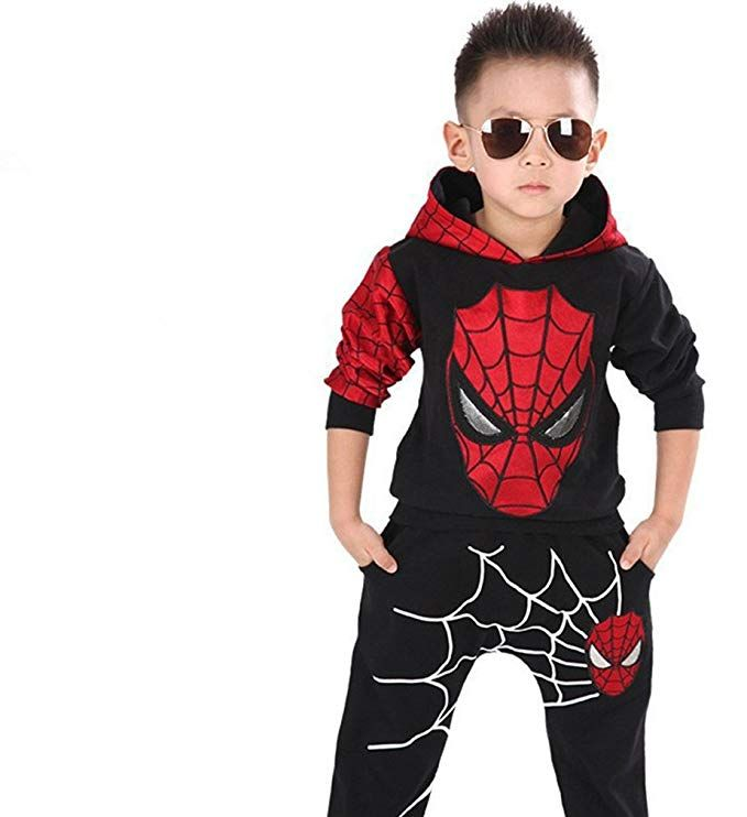 New 2PCS Kids Baby Boys Spiderman Outfits Coat Tops+Pants Casual Cotton Clothing