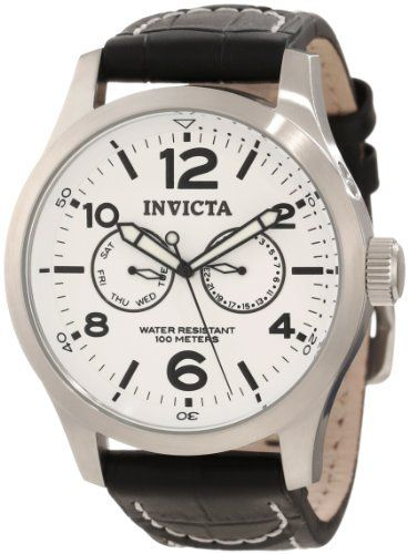 Invicta Men's 12171 Specialty Military White Dial Watch Invicta. $74.95. Day and date subdials. White dial with black hands, hour markers and arabic numerals; luminous; concealed pusher above crown. Flame-fusion crystal; stainless steel case; black leather strap with contrast stitching. Quartz movement. Water-resistant to 100 M (330 feet). Save 85% Off! - for James