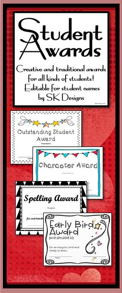 Celebrate your students gifts! 70+ different creative, traditional, and affirming awards in a variety of editable styles at SK Designs.