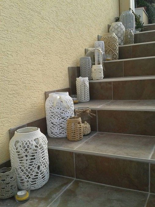Veľke hačkované svietniky, big beautiful, crochet, vintage,lace, wedding decor, garden decoration, white, grey, beige candles, candle holders,