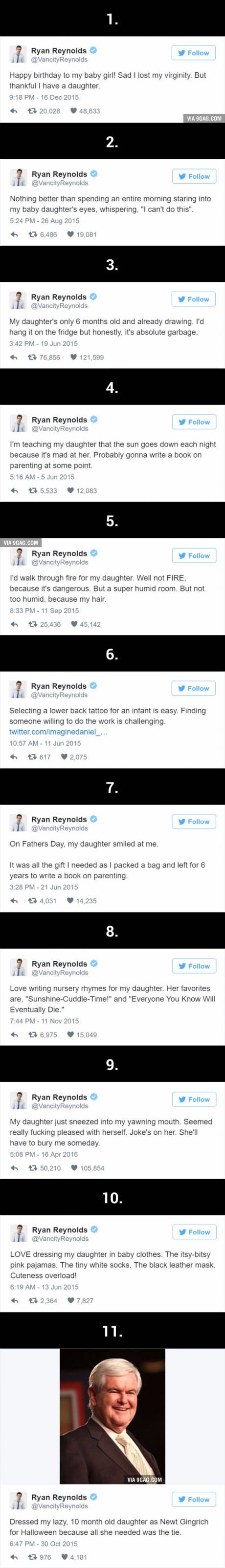 Ryan Reynolds' Hilariously Honest Tweets About His Daughter Are Even Better Than Deadpool #dadoftheyear
