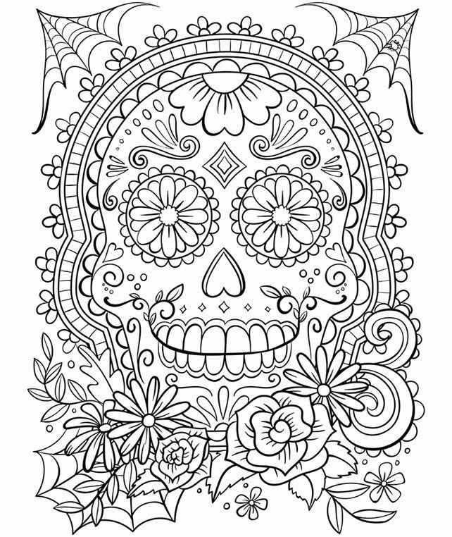 Free Online Coloring For Adults In 2020 Skull Coloring Pages Free Adult Coloring Pages Halloween Coloring Pages