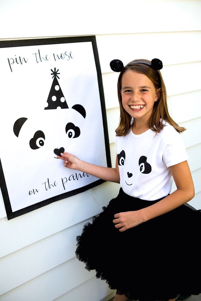 Pin the nose on the Panda Bear game board from a Party Like a Panda Birthday Party