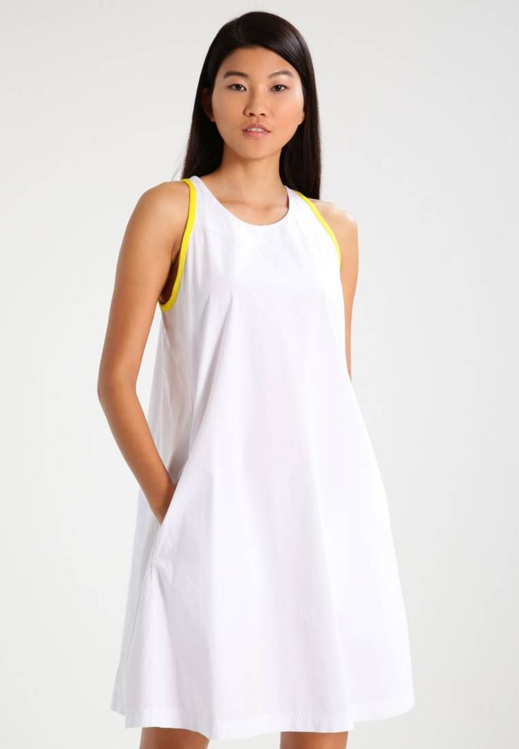"""Benetton. Summer dress - white. Fit:large. Outer fabric material:100% cotton. Our model's height:Our model is 69.5 """" tall and is wearing size 10. Care instructions:do not tumble dry,machine wash at 30°C,Machine wash on gentle cyc..."""