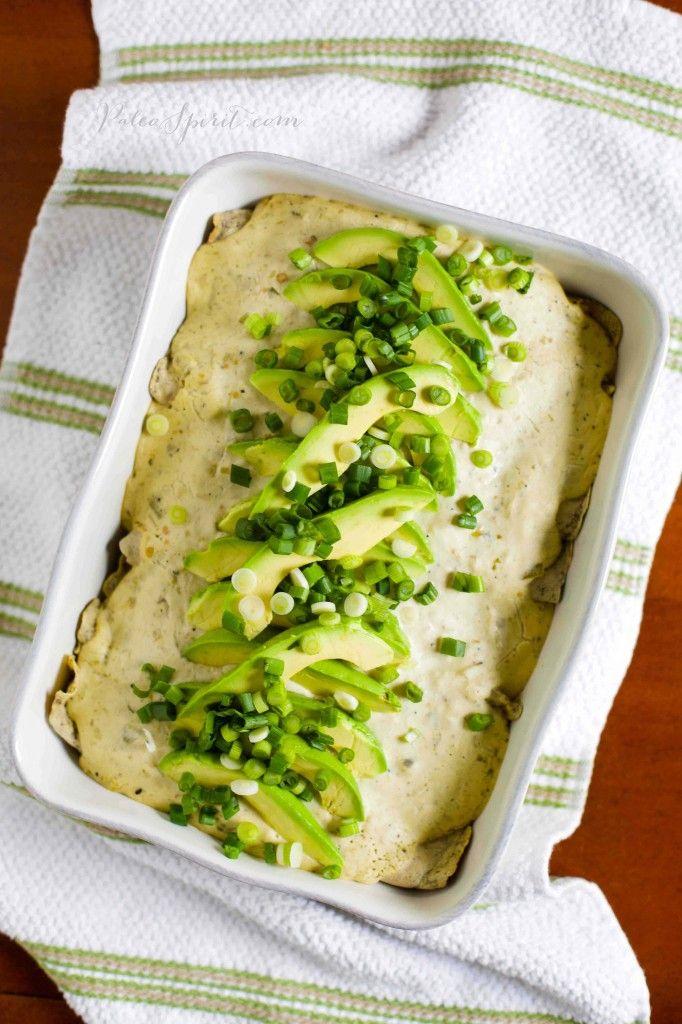 Creamy Paleo Chicken Enchiladas Verdes | Paleo Spirit #dairyfree #paleo