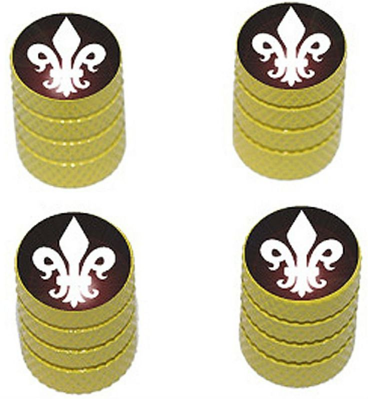 """Amazon.com : (4 Count) Cool and Custom """"Diamond Etching Fleur de Lis Top with Easy Grip Texture"""" Tire Wheel Rim Air Valve Stem Dust Cap Seal Made of Genuine Anodized Aluminum Metal {Sunshine Cadillac Yellow and White Colors - Hard Metal Internal Threads for Easy Application - Rust Proof - Fits For Most Cars, Trucks, SUV, RV, ATV, UTV, Motorcycle, Bicycles} : Sports & Outdoors"""