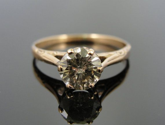 Champagne Diamond in Rose Gold Filigree Antique Engagement Ring RGDI633n on  Etsy, $1,285.00
