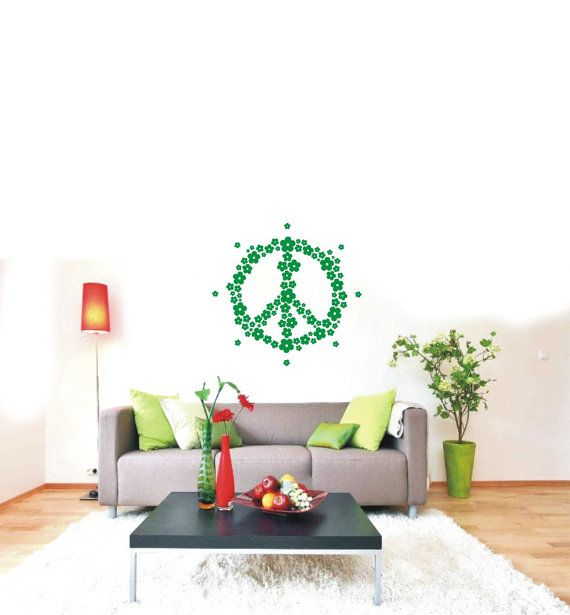 Flower Peace Hippie Symbol Decal 60's Sign Wall by VINYL2079DECALS