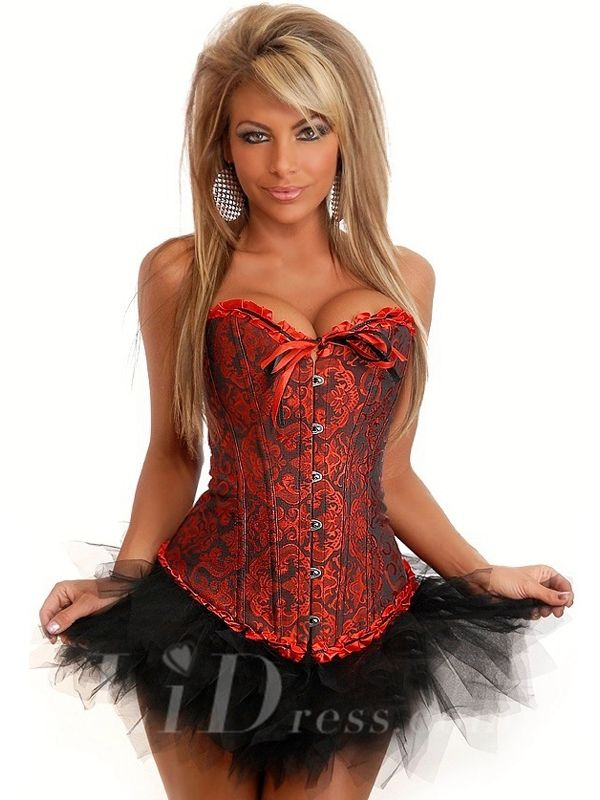 Black And Red Sexy Boned Overbust Lace Up Corset Bustier Top Dress Waist Cincher Shaper Xs-12Xl Lidbjjy1605261019