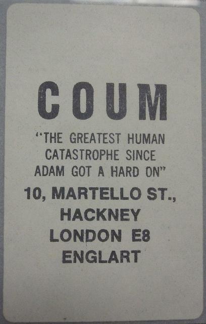 COUM Transmissions poster #throbbinggristle